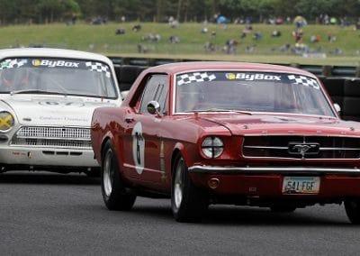 Chasing down the Mustang at Croft